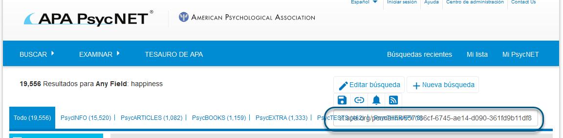 Captura de pantalla de PsycNET que muestra el campo Enlace permanente que está destacado y que se puede copiar y pegar
