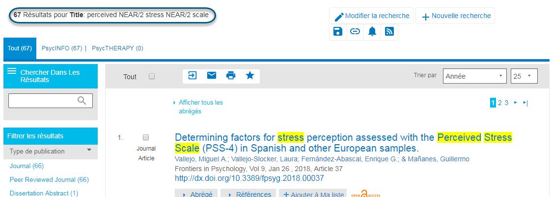 Capture d'écran montrant la page des résultats de recherche PsycNET après lancement d'une recherche pour perceived NEAR/2 stress NEAR/2 scale