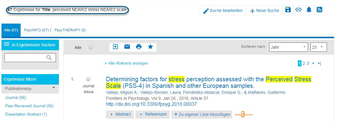 """Screenshot der PsycNET-Suchergebnisseite nach einer Suche mit """"perceived NEAR/2 stress NEAR/2 scale"""""""