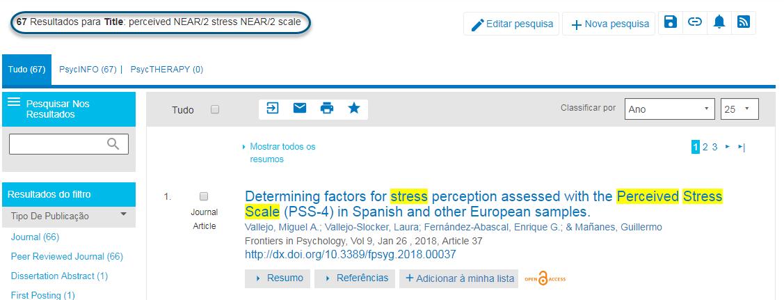 """Captura de tela com os resultados da pesquisa """"estresse NEAR/2 percebido"""" efetuada no PsycNET"""