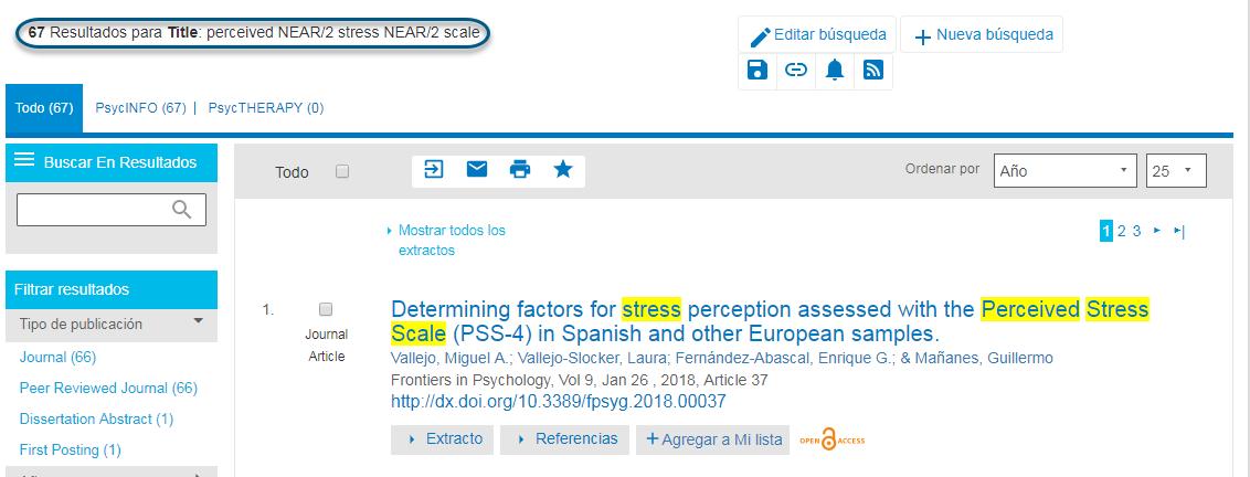 Captura de pantalla que muestra la página de resultados de búsqueda de PsycNET después de ejecutar una búsqueda de perceived NEAR/2 stress NEAR/2 scale