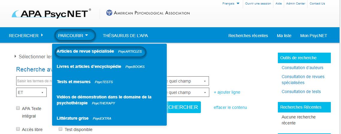Capture d'écran de PsycNET montrant l'option Articles de revue spécialisée - PsycARTICLES sélectionnée