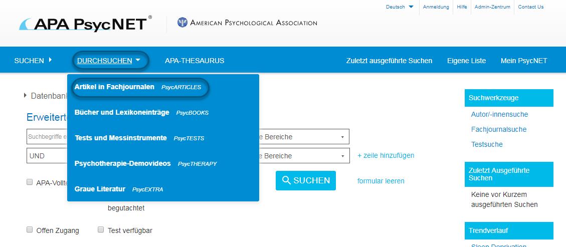 """Screenshot von PsycNET mit Auswahl von """"Artikel in Fachjournalen - PsycARTICLES"""""""