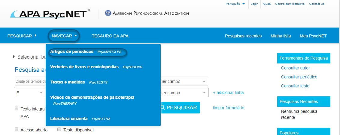 Captura de tela do PsycNET mostrando os artigos de periódicos PsycARTICLES selecionados