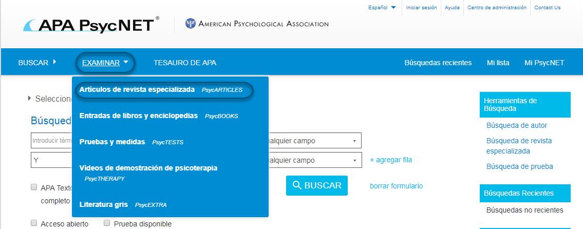 Captura de pantalla de PsycNET mostrando Artículos de revista especializada - PsycARTICLES seleccionado