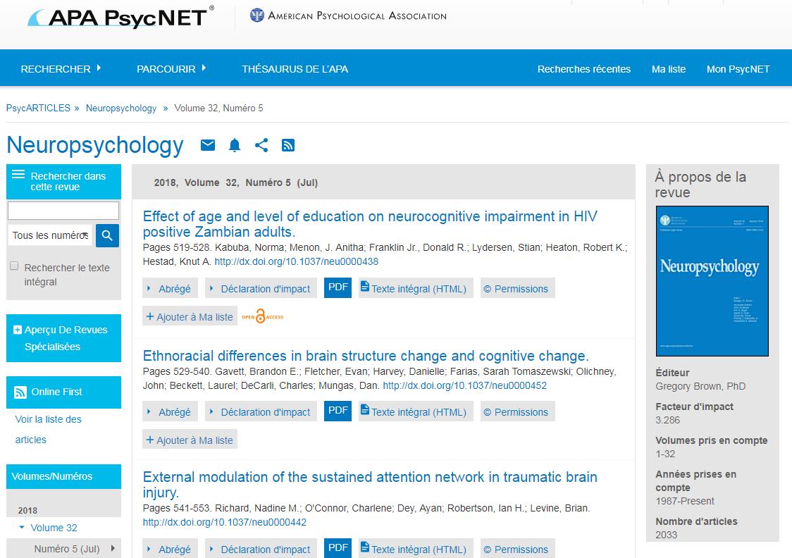 Capture d'écran de la page Parcourir de PsycARTICLES pour la revue Neuropsychology