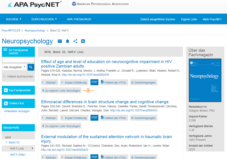Screenshot des Bildschirms zum Durchsuchen von PsycARTICLES für das Fachjournal Neuropsychology