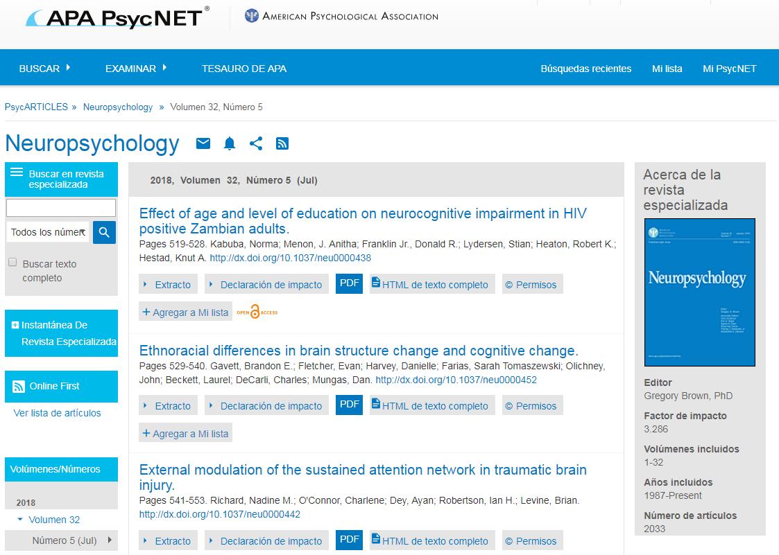 Captura de pantalla Examinar de PsycARTICLES para la revista Neuropsychology
