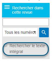 Capture d'écran de la case à cocher Rechercher le texte intégral sur la page Parcourir
