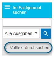 """Screenshot mit dem Kontrollkästchen """"Volltext durchsuchen"""" im Suchbildschirm"""
