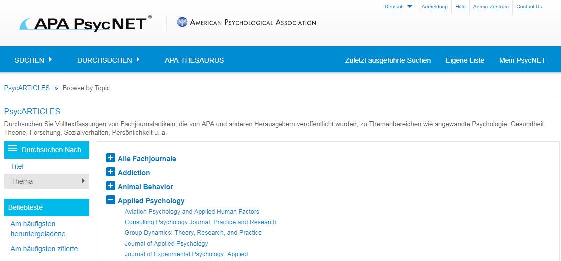 Screenshot des Bildschirms für die Suche in PsycARTICLES
