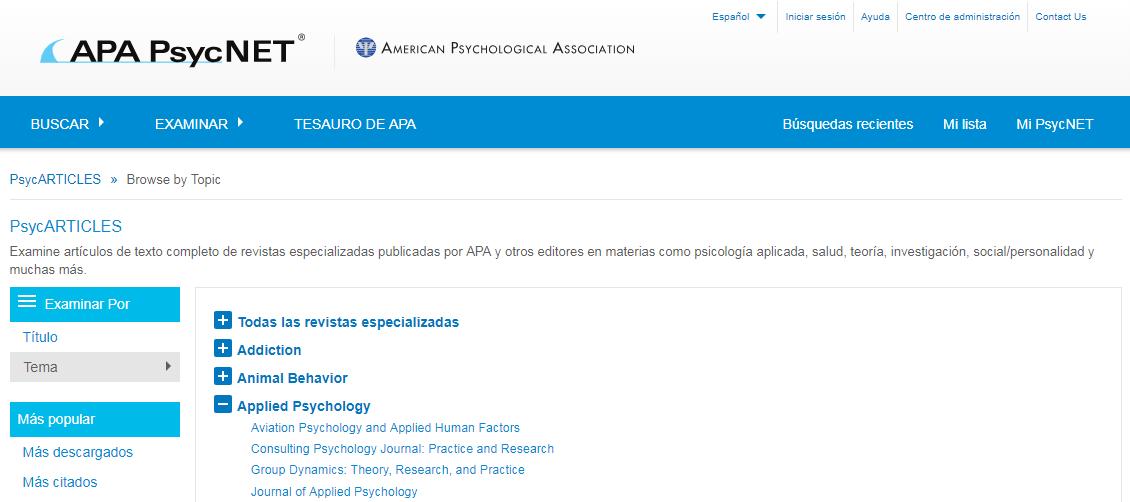 Captura de pantalla mostrando la pantalla Examinar PsycARTICLES