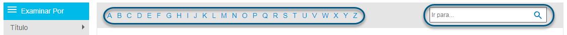 Captura de pantalla que muestra la barra alfabética y el campo Saltar a en la pantalla Examinar de PsycARTICLES