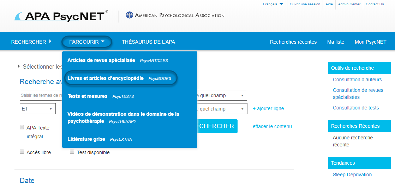 Capture d'écran de PsycNET montrant l'option Livres et articles d'encyclopédie - PsycBOOKS sélectionnée