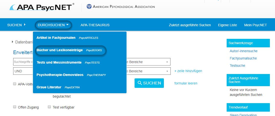 """Screenshot von PsycNET mit Auswahl von """"Bücher und Lexikoneinträge - PsycBOOKS"""""""