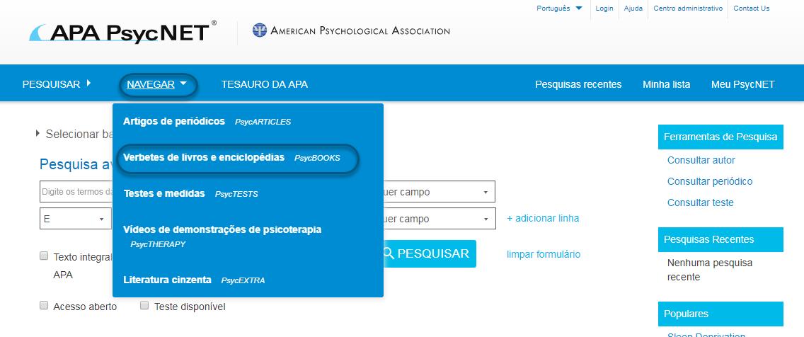 """Captura de tela do PsycNET mostrando """"Verbetes de livros e enciclopédias – PsycBOOKS"""" selecionado"""