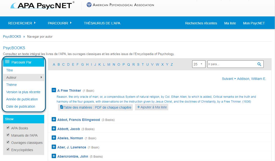 Capture d'écran de la page Parcourir de PsycBOOKS avec la section Parcourir par entourée et l'option Auteur sélectionnée