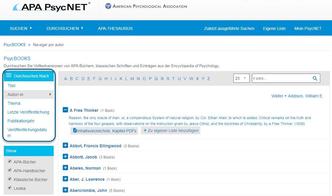 """Screenshot des Bildschirms """"Durchsuchen"""" für PsycBOOKS mit eingekreistem Bereich """"Durchsuchen nach"""" und ausgewählter Option """"Autor/-in"""""""