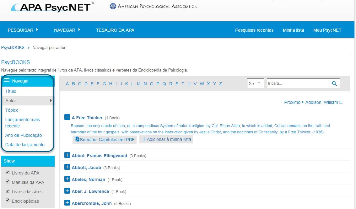 """Captura da tela de navegação do PsycBOOKS com a seção """"Navegar por"""" circulada e a opção """"Autor"""" escolhida"""