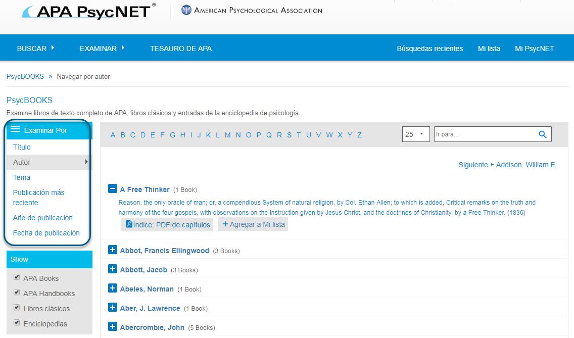 Captura de pantalla de la pantalla Examinar de PsycBOOKS con la sección Examinar por en un círculo y Autor elegido