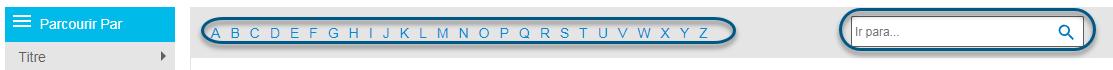 Captura de pantalla que muestra la barra alfabética y el campo Saltar a en la pantalla Examinar de PsycBOOKS