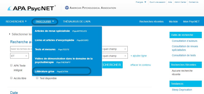 Capture d'écran de PsycNET montrant l'option Littérature Grise - PsycEXTRA sélectionnée