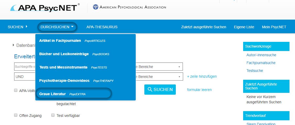 """Screenshot von PsycNET mit Auswahl von """"Graue Literatur - PsycEXTRA"""""""