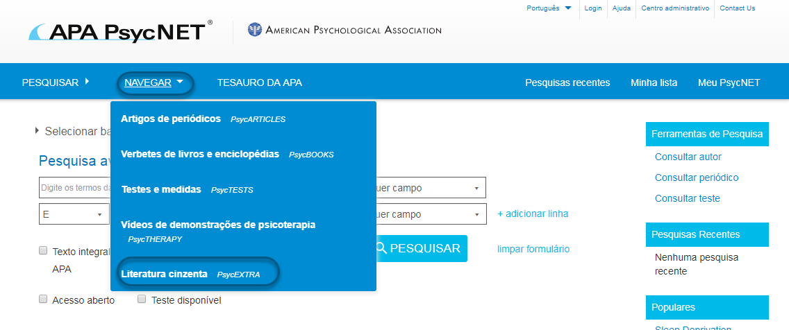Captura de tela do PsycNET mostrando os artigos de literatura cinzenta do PsycEXTRA selecionados