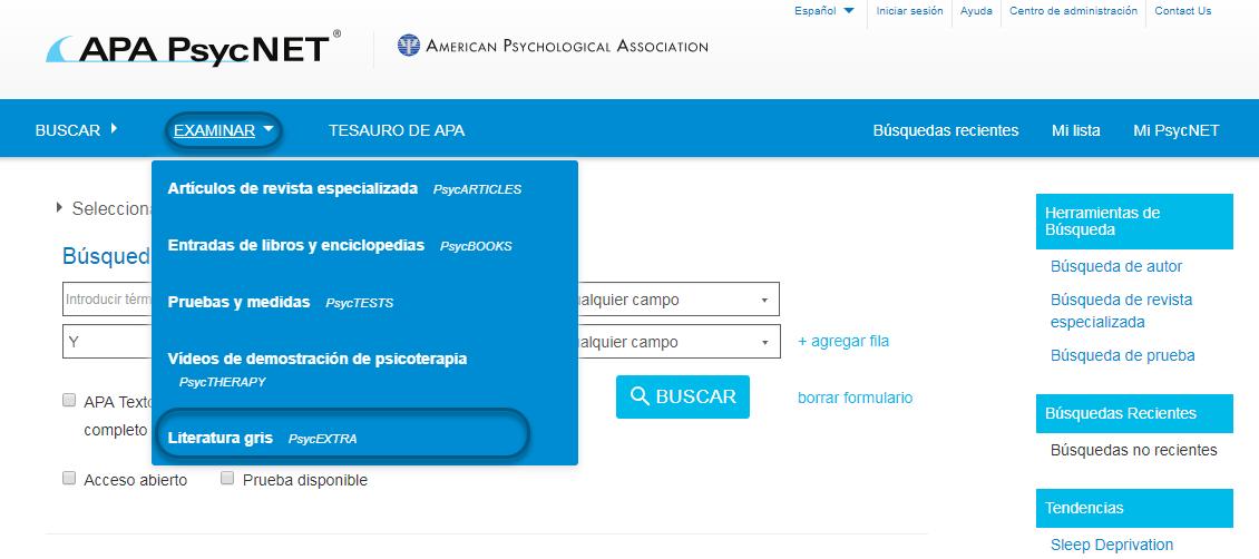 Captura de pantalla de PsycNET mostrando Literatura gris - PsycEXTRA seleccionado