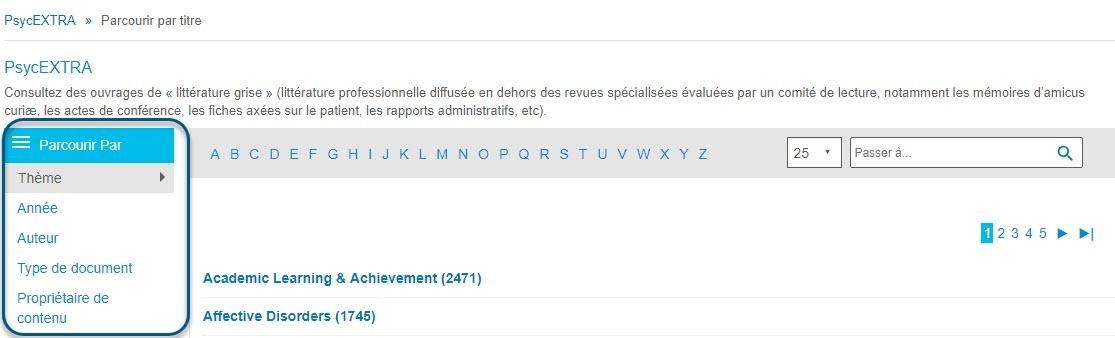 Capture d'écran de la page Parcourir de PsycEXTRA avec la section Parcourir par entourée et l'option Thème sélectionnée