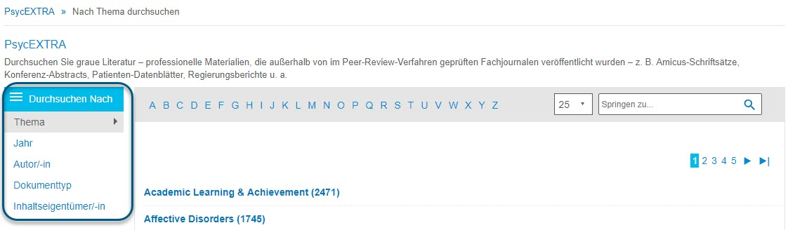 """Screenshot des Bildschirms """"Durchsuchen"""" für PsycEXTRA mit eingekreistem Bereich """"Durchsuchen nach"""" und ausgewählter Option """"Thema"""""""