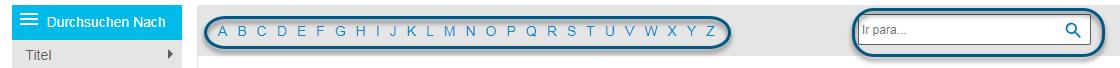 """Screenshot mit Alphabet-Streifen und dem Feld """"Springen zu"""" im Bildschirm """"Durchsuchen"""" für PsycEXTRA"""