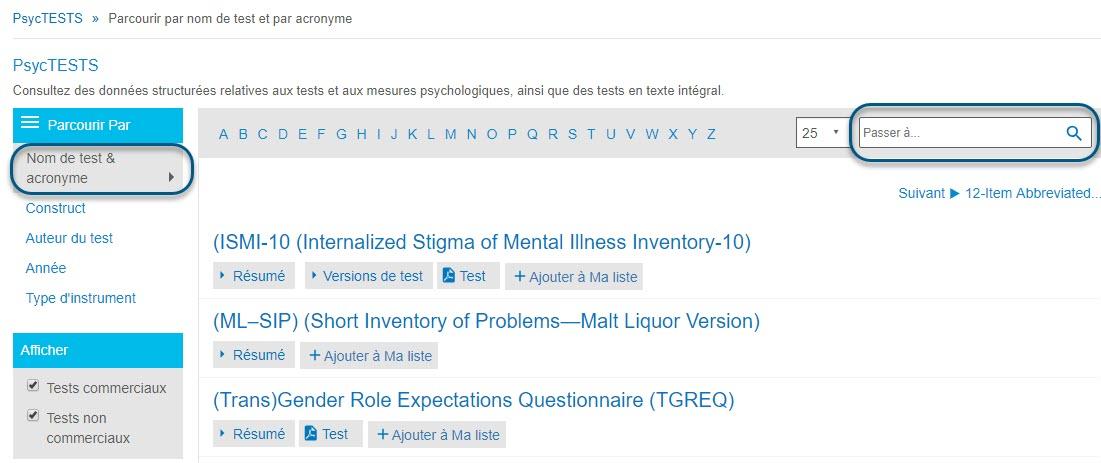 Capture d'écran de la page Parcourir de PsycTESTS montrant l'option Nom de test & acronyme de la section Parcourir par entourée et le champ Passer à entouré