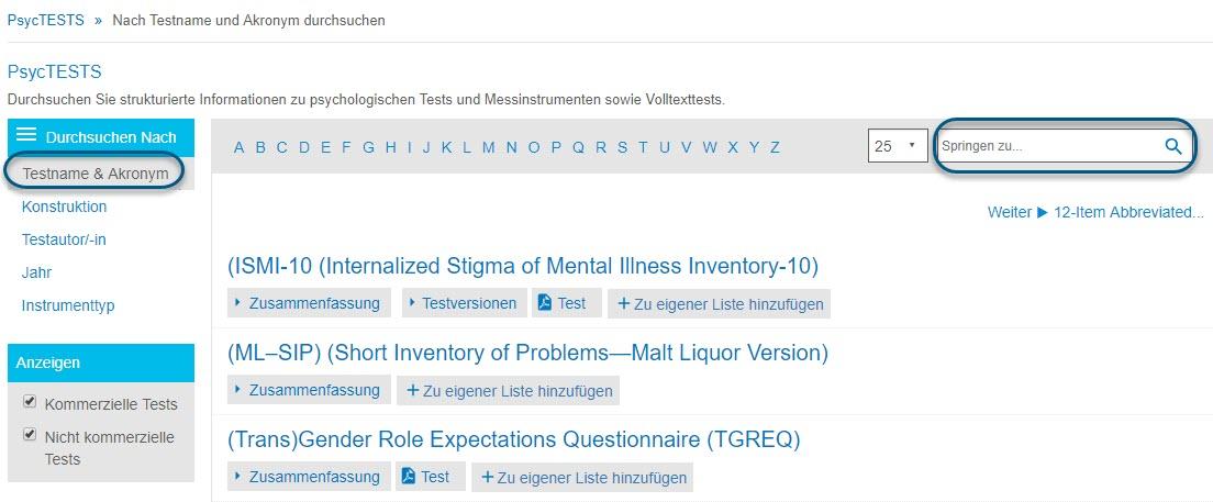 """Screenshot der Seite """"Durchsuchen"""" für PsycTESTS mit eingekreister Option """"Testname & Akronym"""" und eingekreistem Feld """"Springen zu"""""""