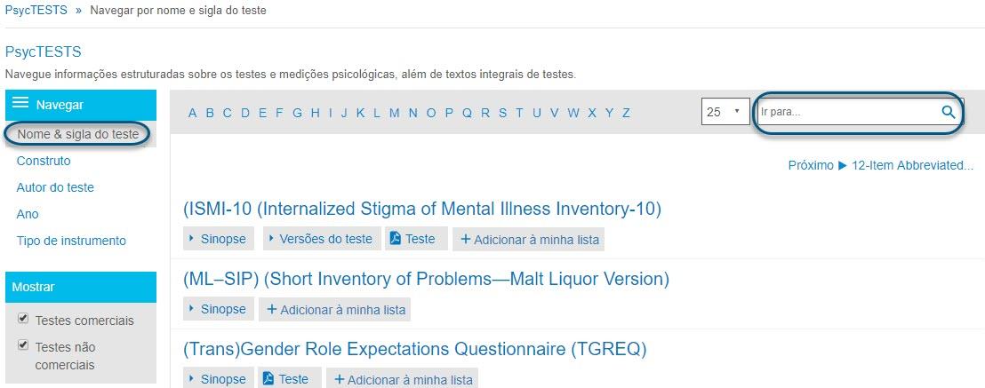 """Captura da página de navegação do PsycTESTS mostrando a opção """"Nome ou acrônimo do teste"""" e o campo """"Ir para"""" circulados."""