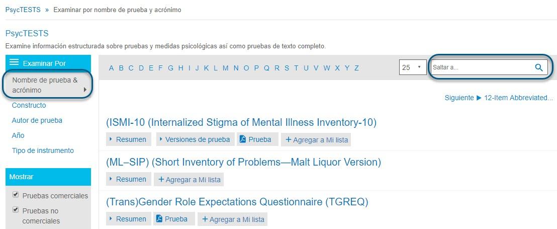 Captura de pantalla de la página Examinar de PsycTESTS que muestra Buscar por Nombre de prueba y acrónimo en un círculo y el campo Saltar a en un círculo.
