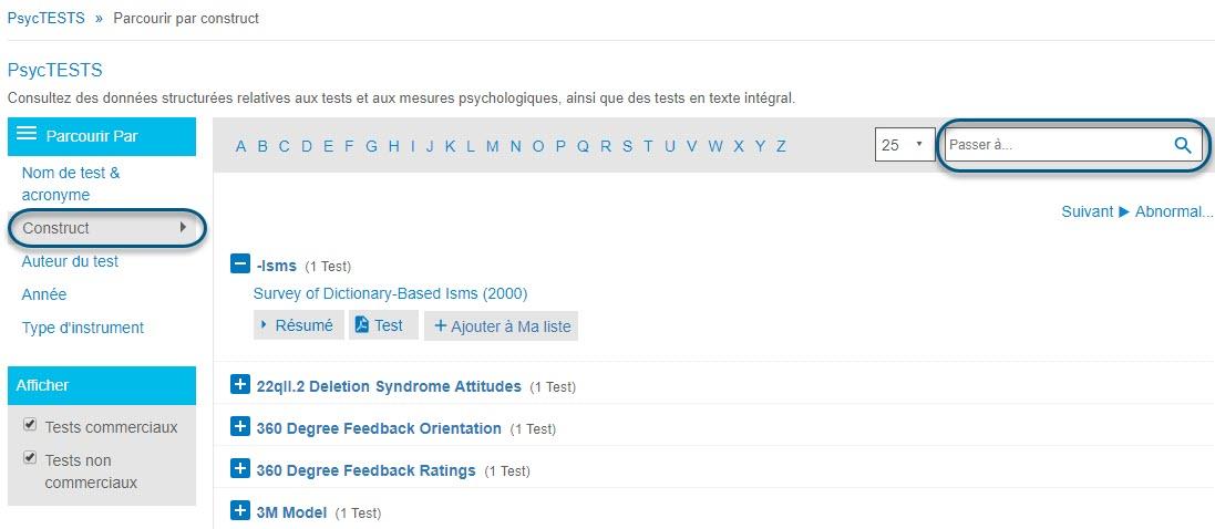 Capture d'écran de la page Parcourir de PsycTESTS montrant l'option Construct de la section Parcourir par entourée et le champ Passer à entouré