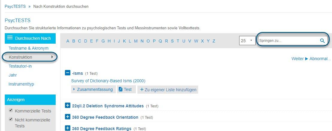 """Screenshot der Seite """"Durchsuchen"""" für PsycTESTS mit eingekreister Option """"Konstruktion"""" und eingekreistem Feld """"Springen zu"""""""