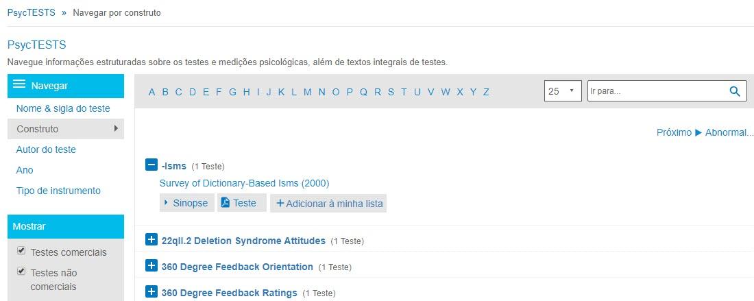 """Captura da página de navegação do PsycTESTS mostrando a opção de navegação por construto e o campo """"Ir para"""" circulados."""