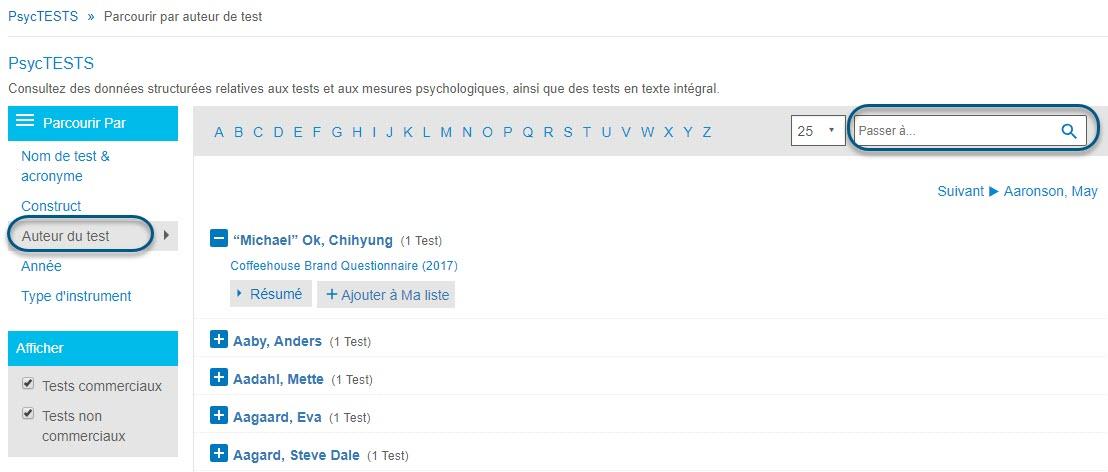 Capture d'écran de la page Parcourir de PsycTESTS montrant l'option Auteur du test de la section Parcourir par entourée et le champ Passer à entouré