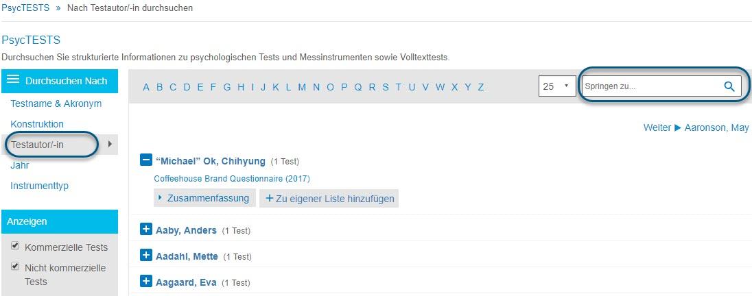 """Screenshot der Seite """"Durchsuchen"""" für PsycTESTS mit eingekreister Option """"Testautor/-in"""" und eingekreistem Feld """"Springen zu"""""""