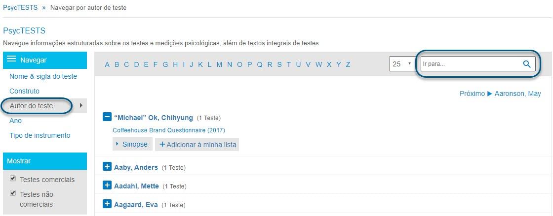 """Captura da página de navegação do PsycTESTS mostrando a opção """"Autor do teste"""" e o campo """"Ir para"""" circulados."""