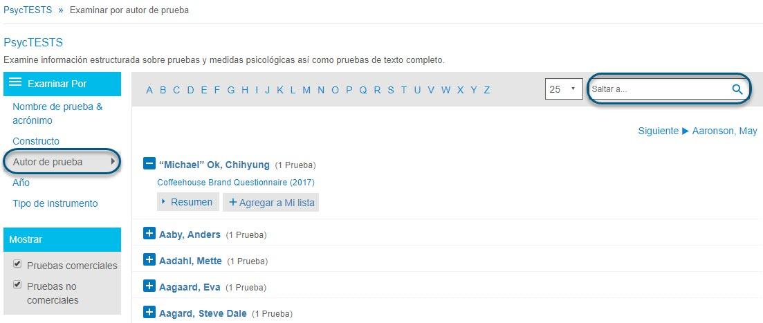 Captura de pantalla de la página Examinar de PsycTESTS que muestra Buscar por Autor de prueba en un círculo y el campo Saltar a en un círculo.