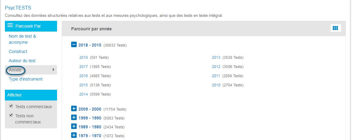 Capture d'écran de la page Parcourir de PsycTESTS montrant l'option Année de la section Parcourir par entourée et l'icône grille sur laquelle il faut cliquer pour afficher la liste des années une par une