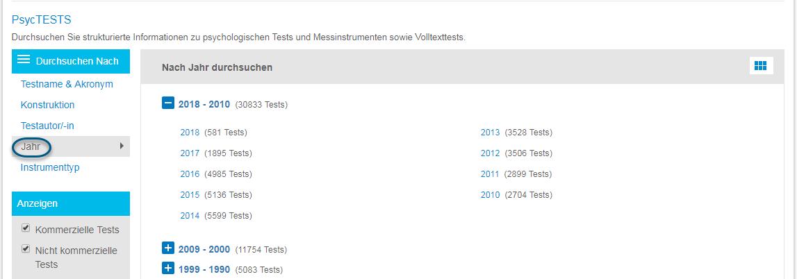 """Screenshot der Seite """"Durchsuchen"""" für PsycTESTS mit eingekreister Option """"Jahr"""" und dem Gittersymbol zum Einblenden einer Liste der einzelnen Jahre"""