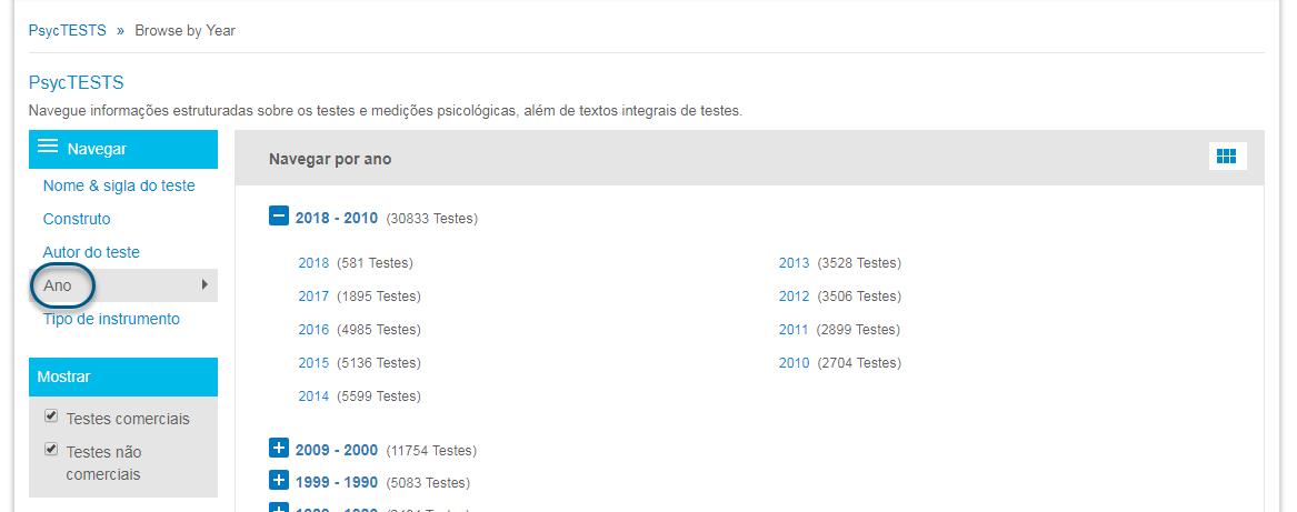 """Captura da página de navegação do PsycTESTS mostrando a opção """"Ano"""" e o ícone de grade para exibir uma lista dos anos"""