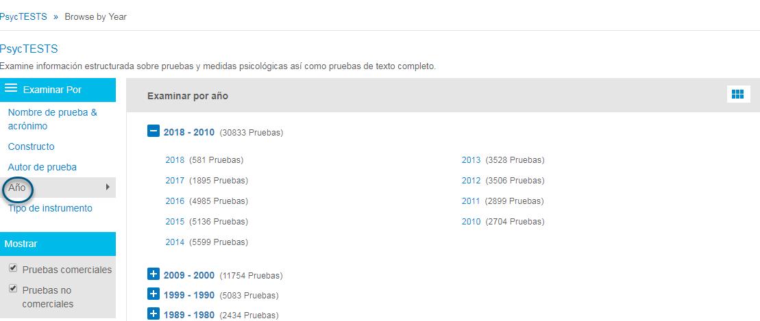Captura de pantalla de la página Examinar de PsycTESTS que muestra Buscar por Año en un círculo y para hacer clic en el icono de cuadrícula para mostrar la lista de años individuales.