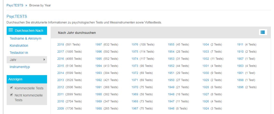 """Screenshot der Seite """"Durchsuchen"""" für PsycTESTS mit eingekreister Option """"Jahr"""" und dem Gittersymbol zum Umschalten der Anzeige zwischen einzelnen Jahren und Jahresbereichen"""