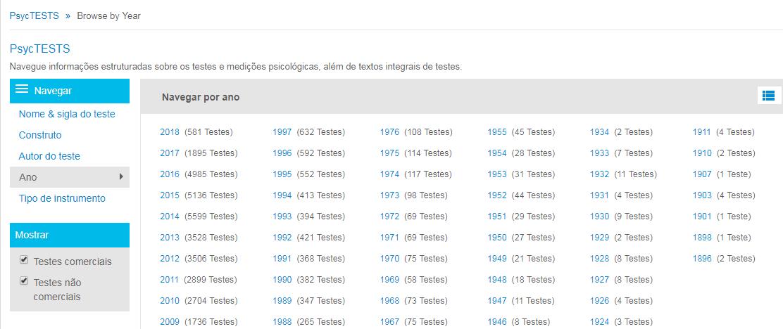 """Captura da página de navegação do PsycTESTS mostrando a opção """"Ano"""" e o ícone de grade para alternar a exibição entre anos específicos e o intervalo de anos"""