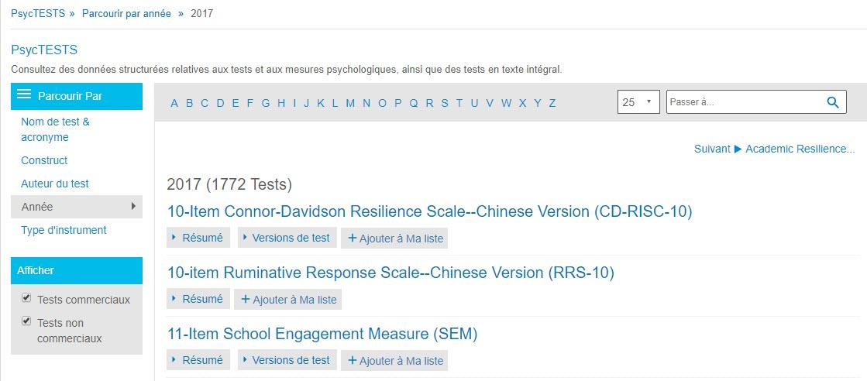 Capture d'écran de la page Parcourir de PsycTESTS montrant l'option Année de la section Parcourir par, avec l'option 2017 sélectionnée